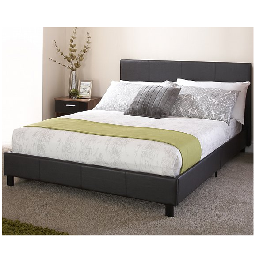 Online 4 Discounts » Black Faux Leather 4ft Small Double Bed in a Box