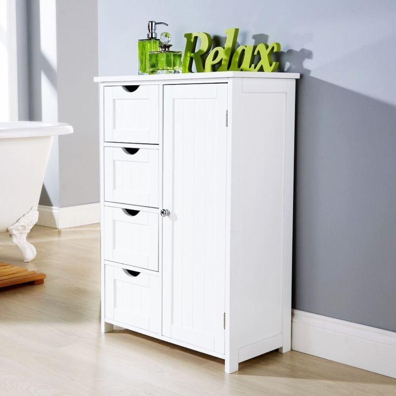 Colonial Style 1 Door Multi Storage Unit 4 Drawer Bathroom Floor Cabinet